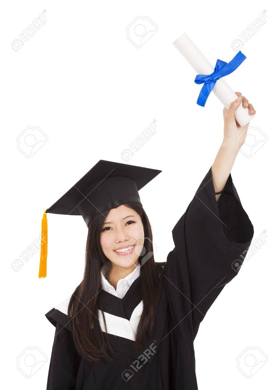 happy Graduate woman Holding Degree Stock Photo - 18311259