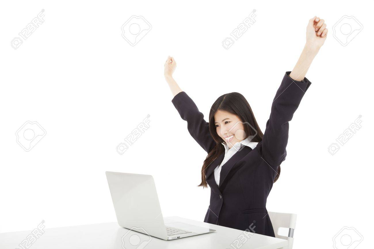 happy businesswoman with laptop and isolated on white Stock Photo - 18461593