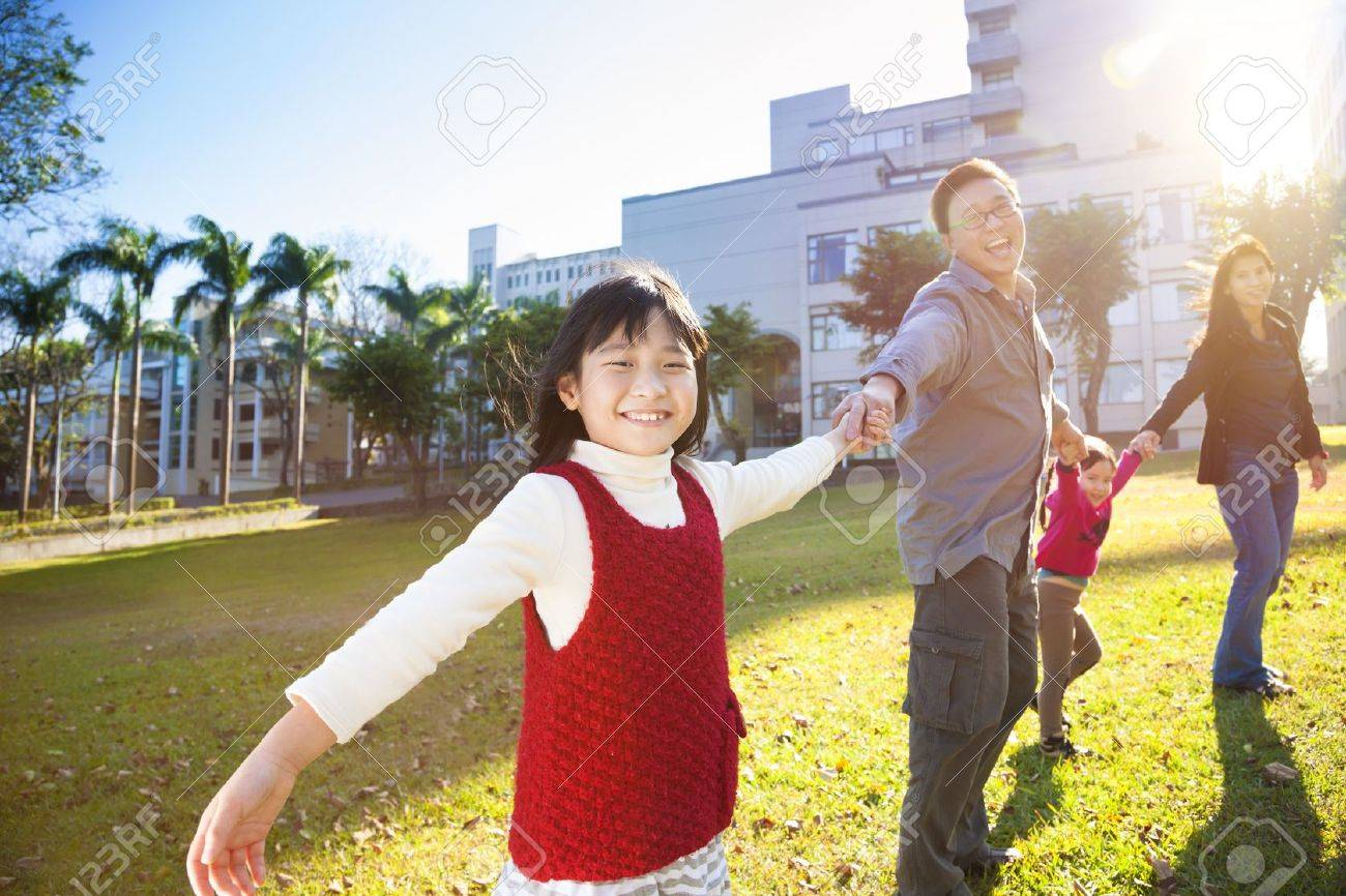 happy  family in the school with sunlight background Stock Photo - 18812409
