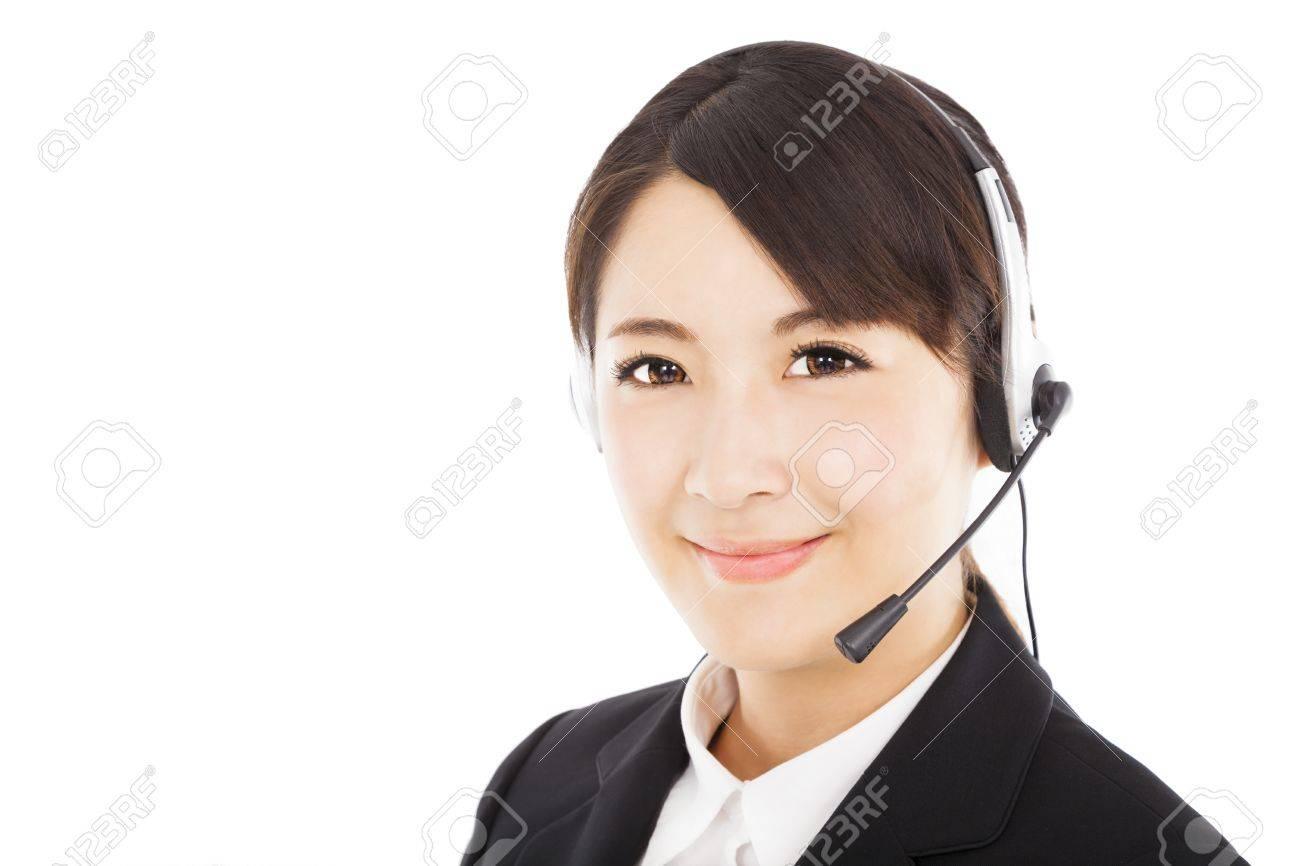 beautiful smiling businesswoman with headphone Stock Photo - 19407680