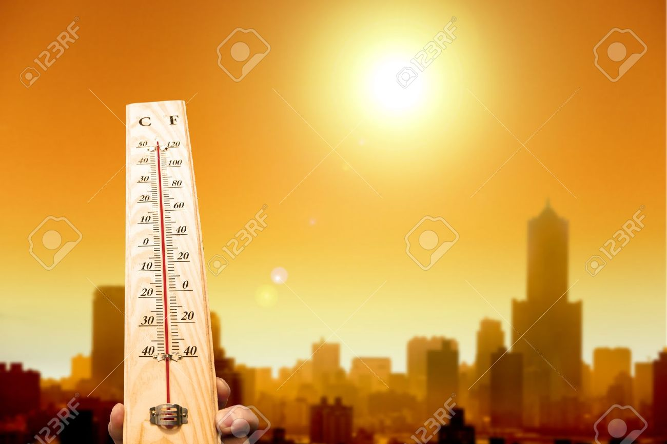 heat wave in the city and hand showing thermometer for high temperature - 20681099