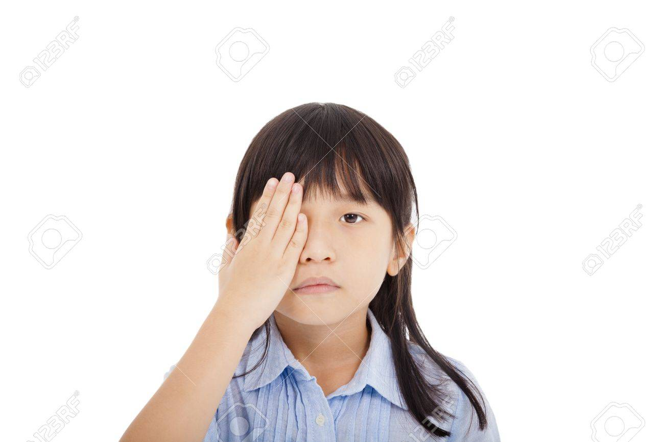 little girl cover a eye with eyesight concept Stock Photo - 22060097
