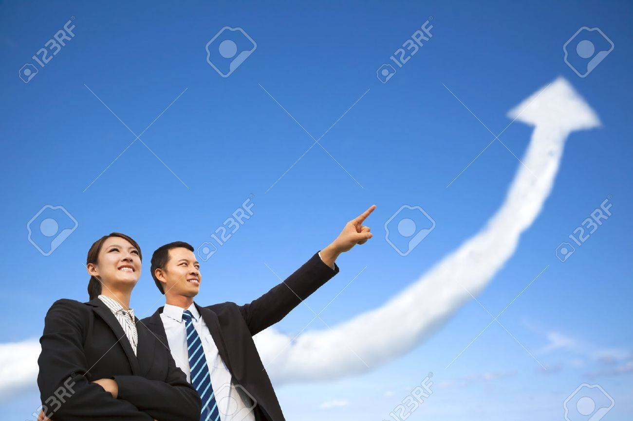 business group watching the  growing graph  cloud Stock Photo - 23572681