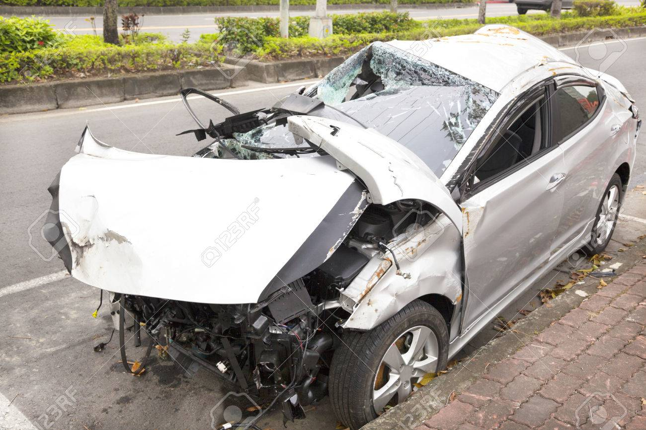 Car Accident And Wrecked Car On The Road Stock Photo, Picture And Royalty  Free Image. Image 24611540.