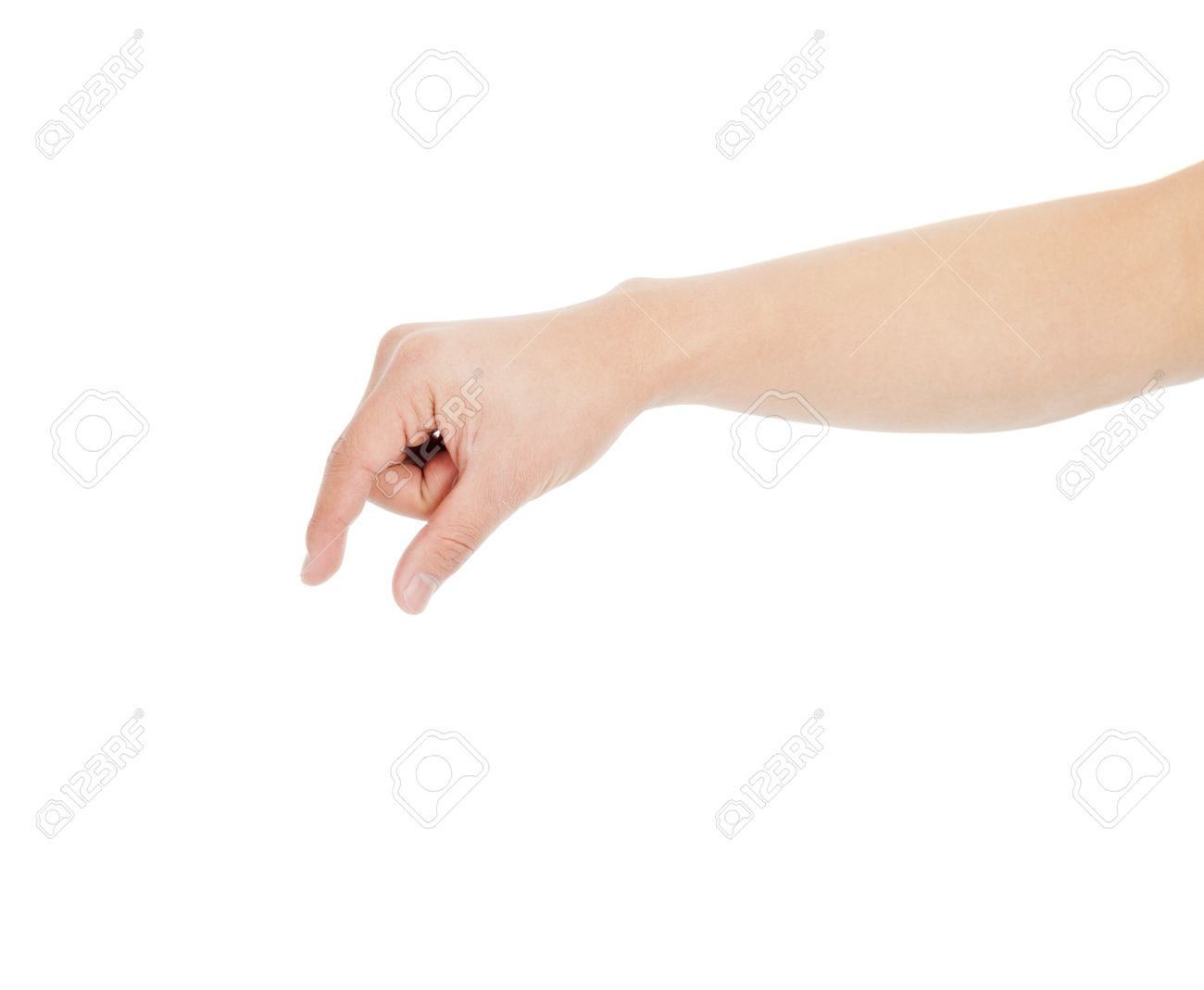 male hand grabbing for something isolated on white stock photo