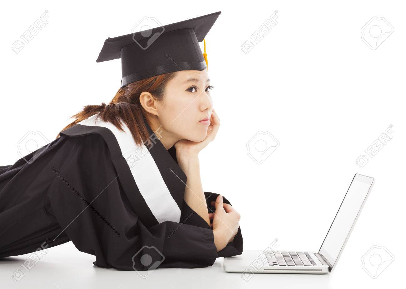 unhappy female graduation thinking career or job stock photo stock photo unhappy female graduation thinking career or job