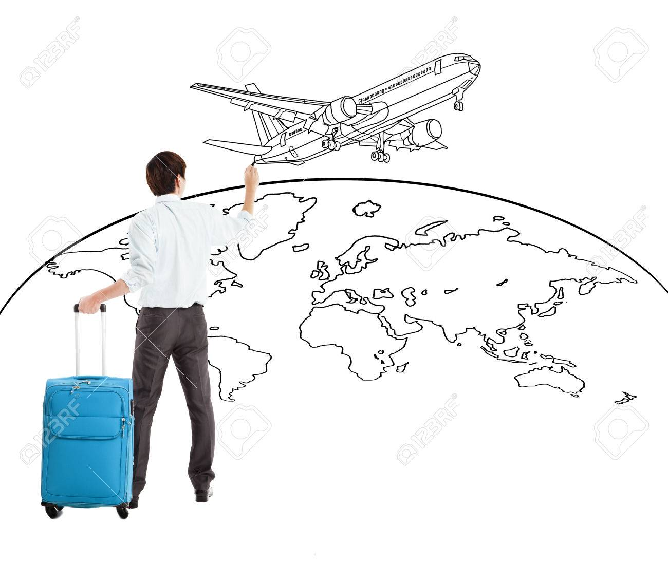 young businessman drawing airplane and world map Stock Photo - 28601625