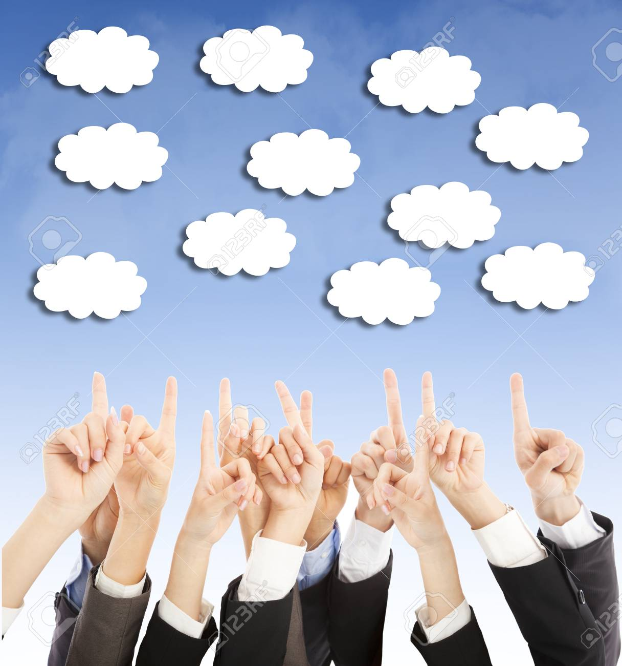 group of business people hands point upward cloud Stock Photo - 29969094