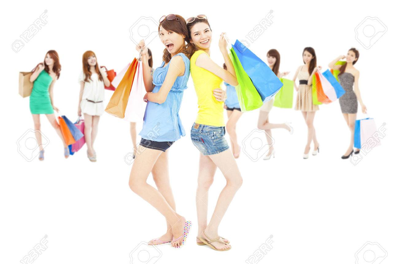 Woman posing with shopping bags isolated on white background full - Stock Photo Asian Shopping Women Group Holding Color Bags Isolated On White Background