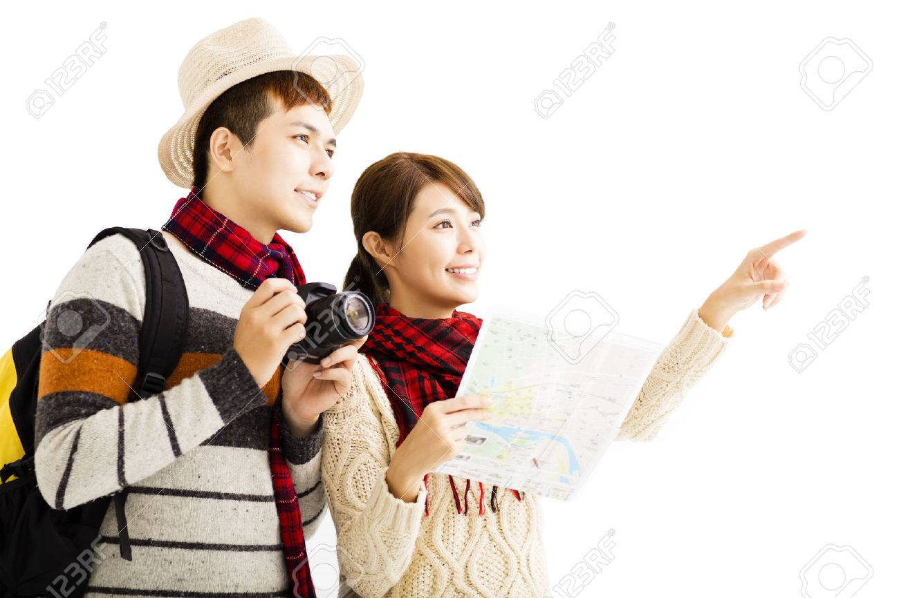 happy young couple enjoy travel with autumn wear Stock Photo - 44988268