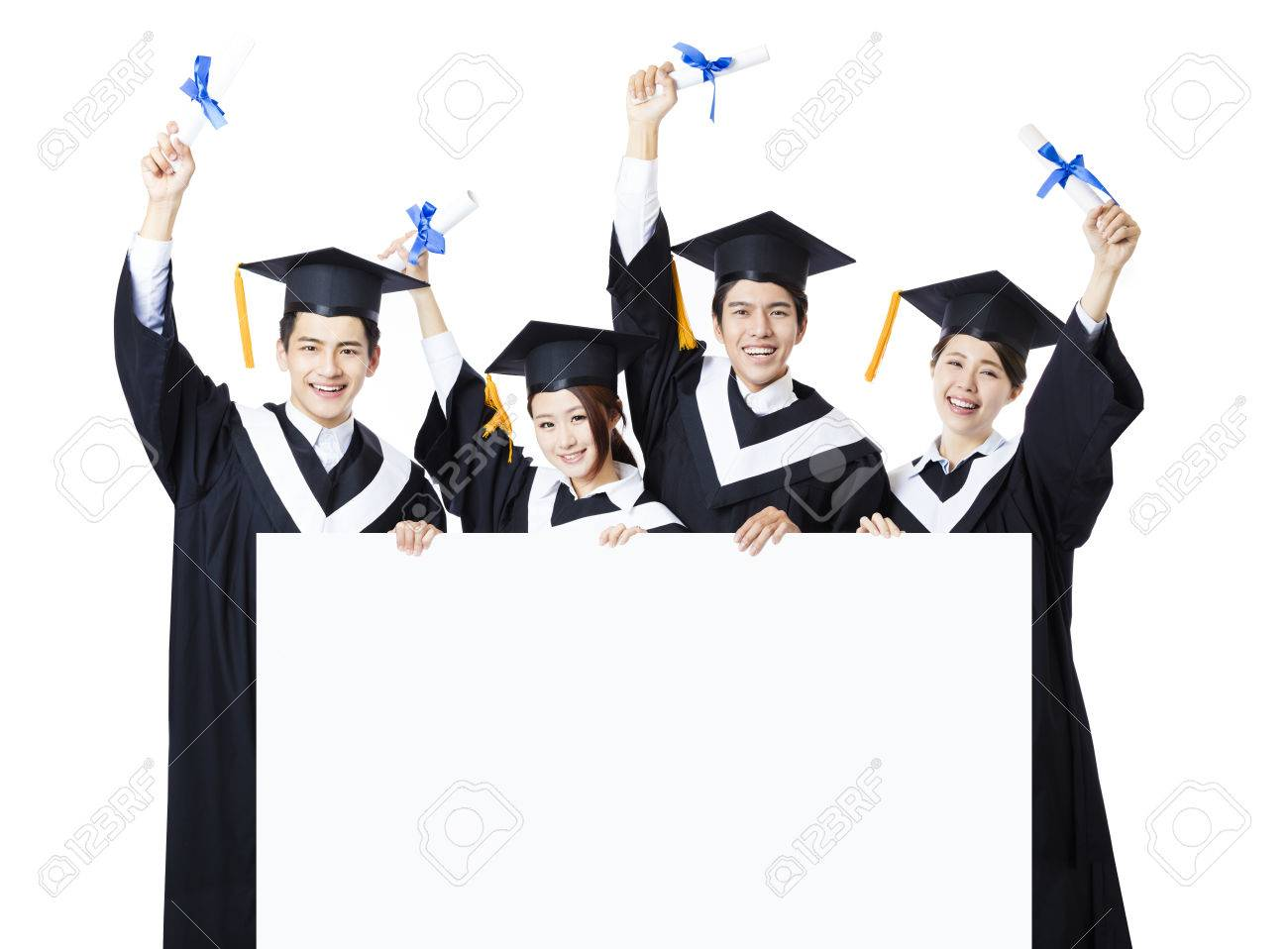 young group of graduate students presenting empty banner stock photo
