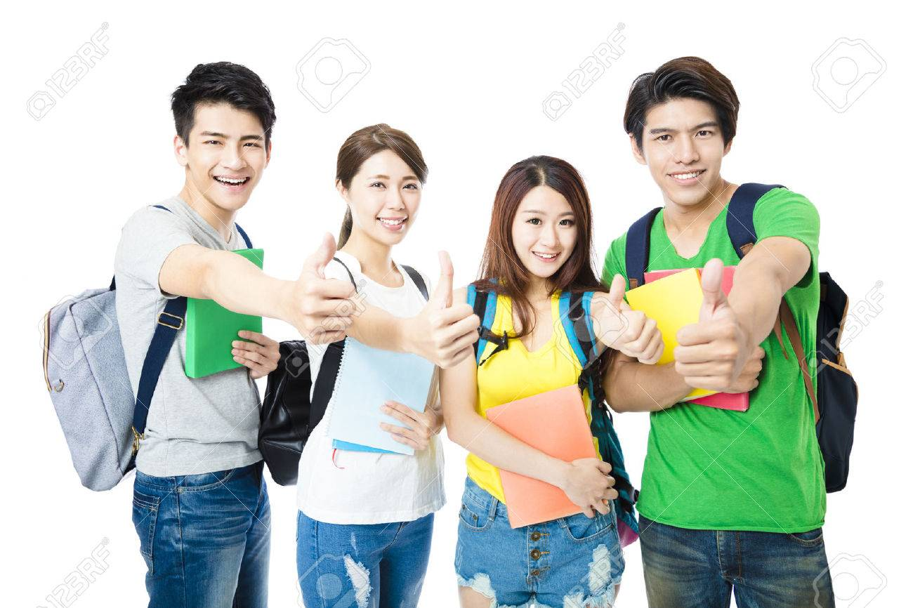 happy group of the college students with thumbs up - 56763448