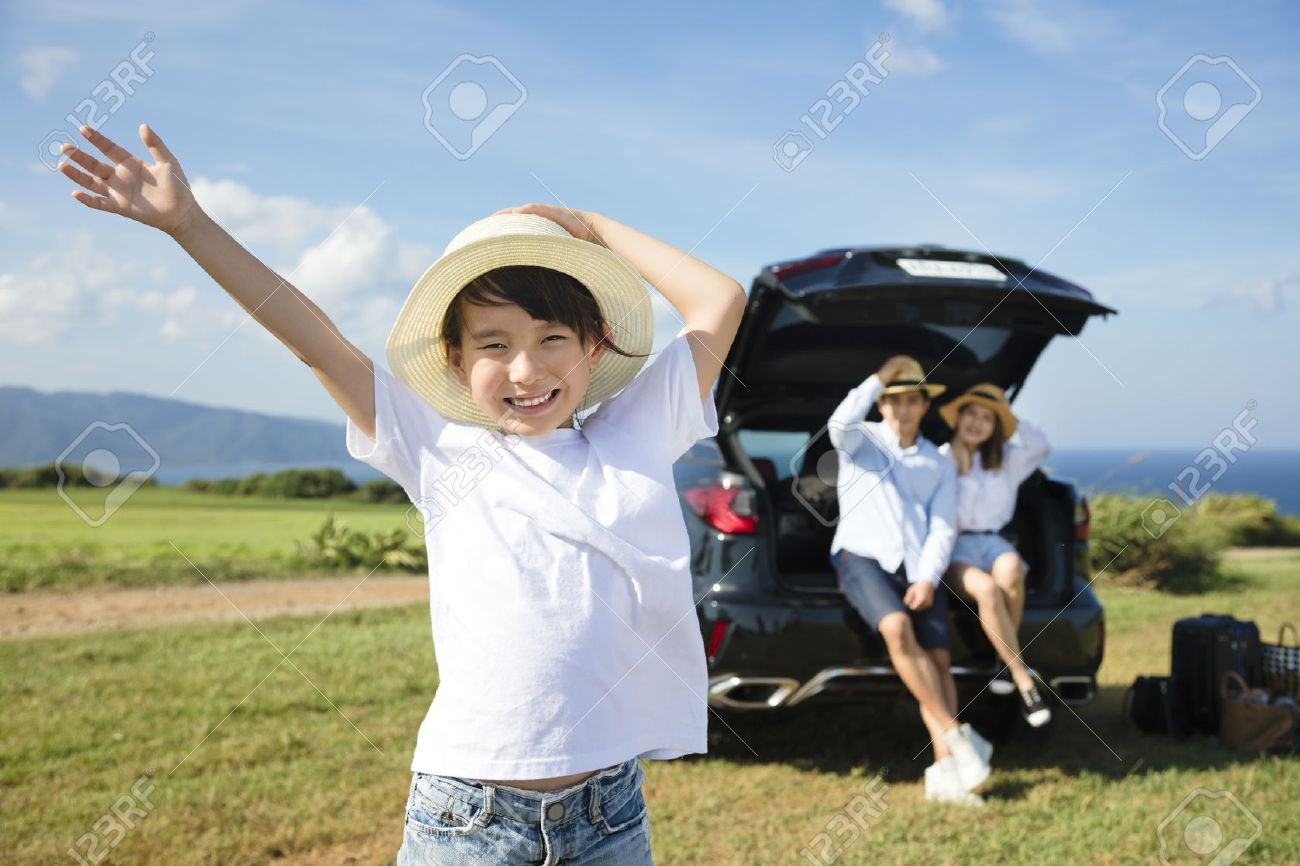 happy Family with little girl travel by car Stock Photo - 57836297