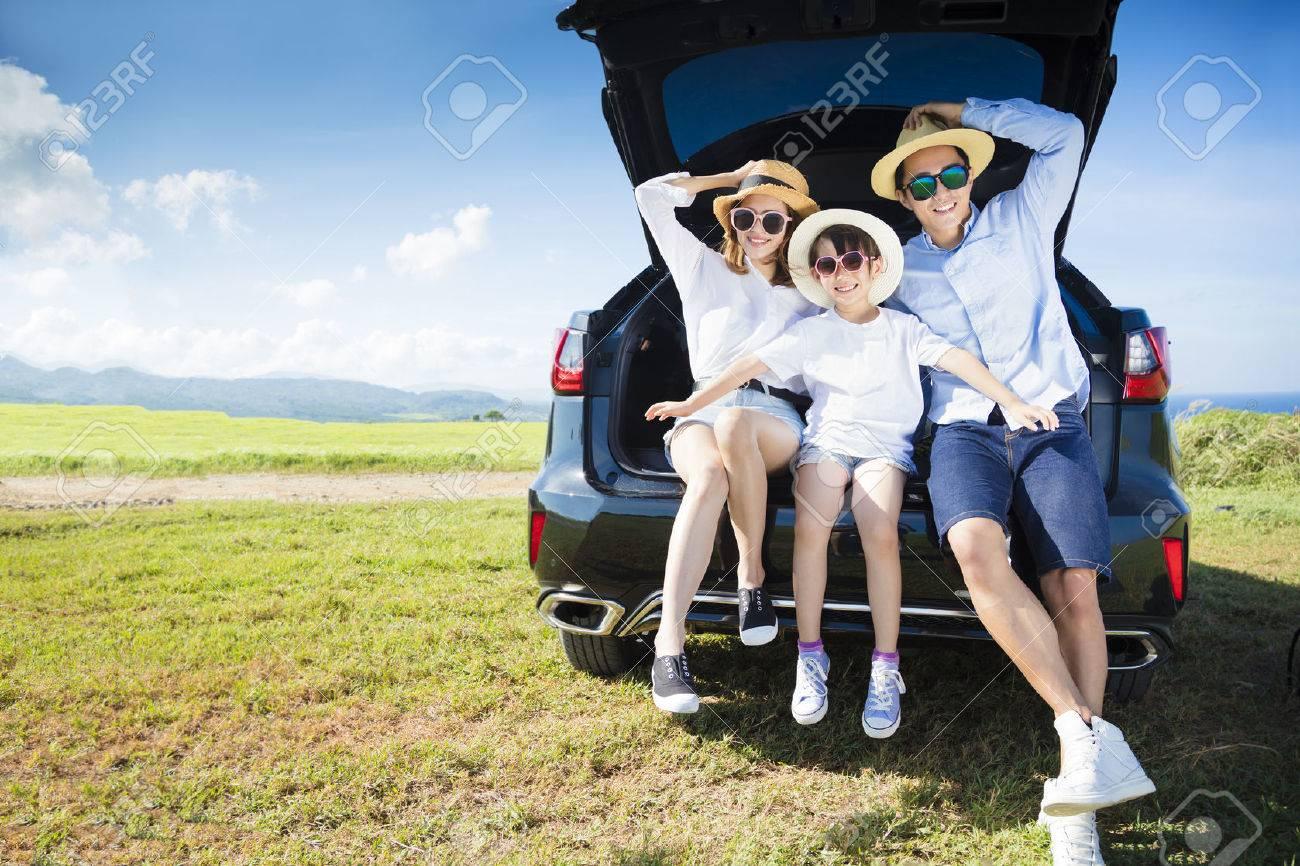 happy family enjoying road trip and summer vacation - 58148192