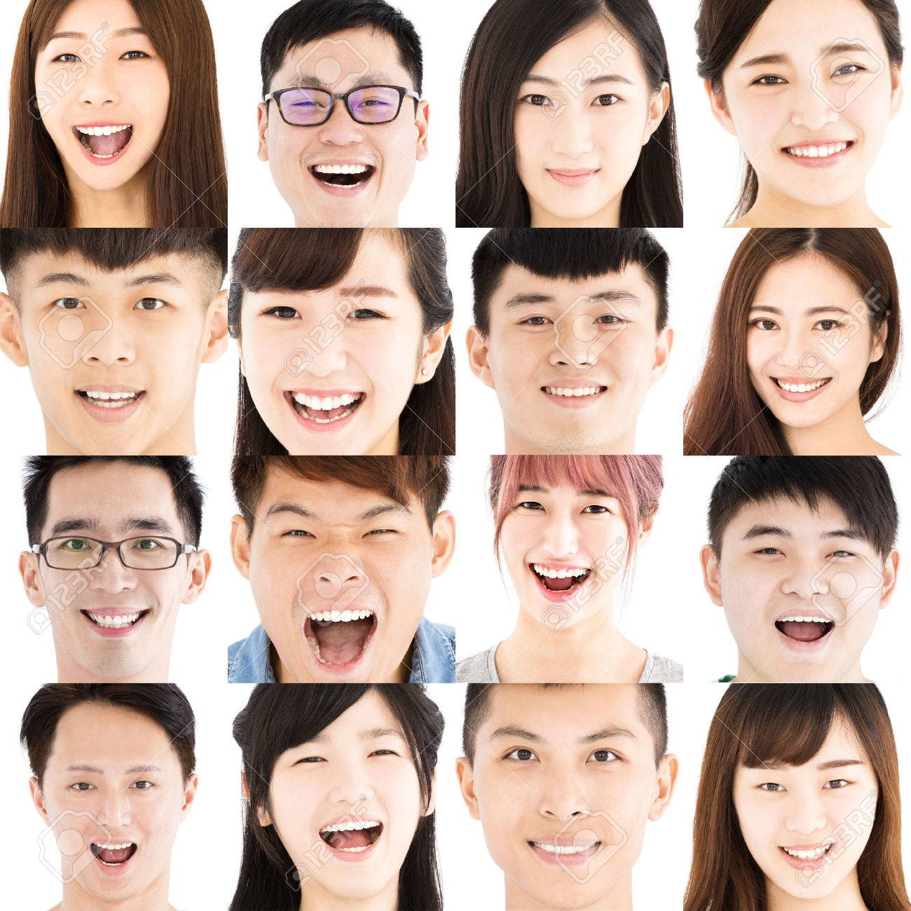 Composition of smiling asian young people - 69720685