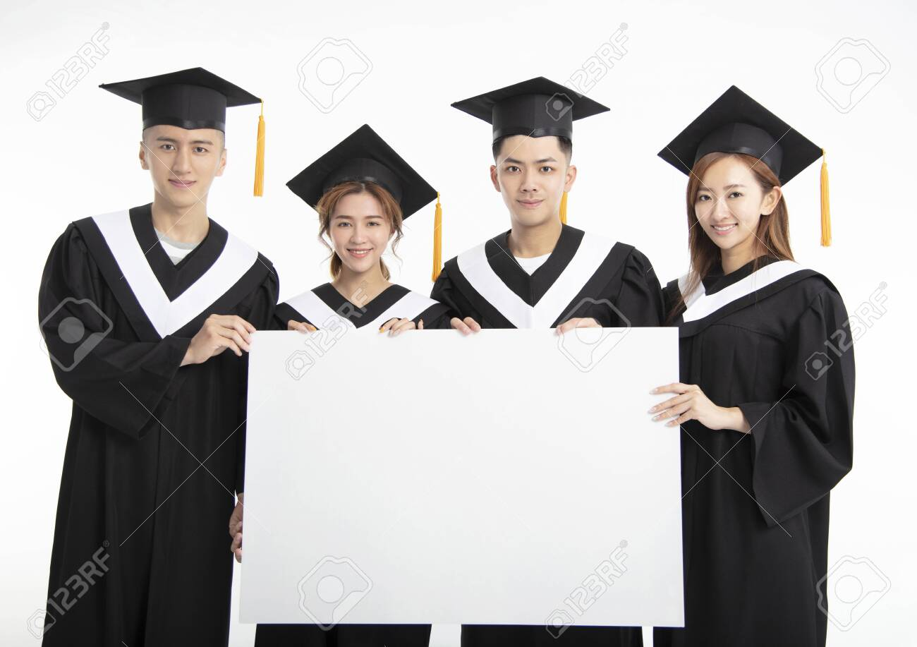 young Group of graduate students presenting empty banner - 126871904