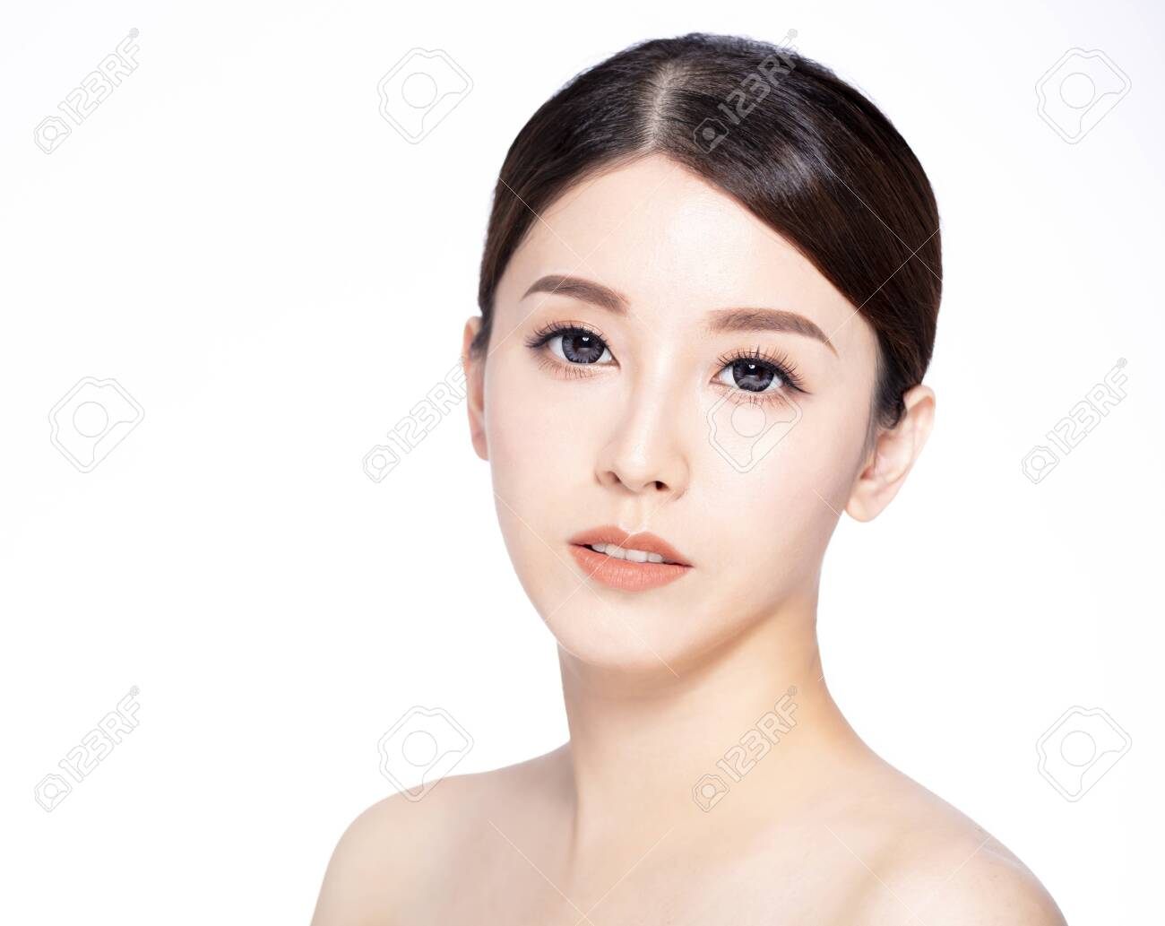 closeup young beauty face with clean fresh skin - 146946719