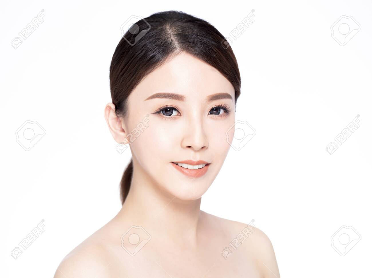 closeup young beauty face with clean fresh skin - 147129661