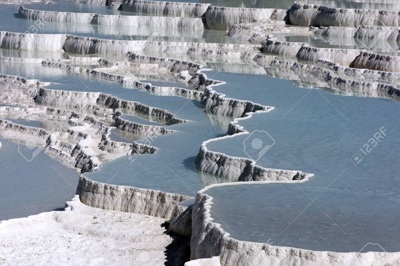 The incredible travertines, otherwise known as Cotton Castle at Pamukkale, Turkey. - 55031564