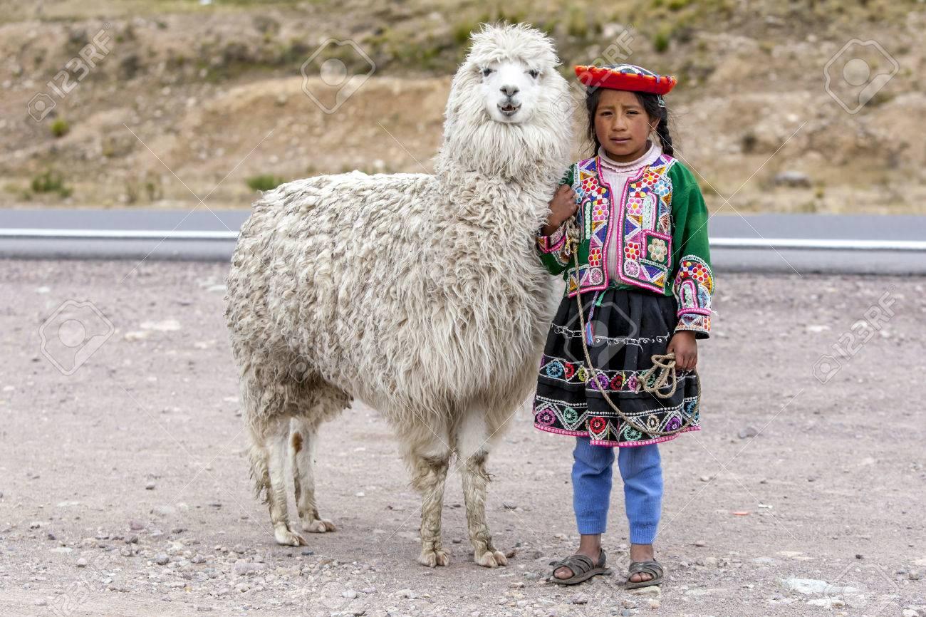 e9a04fd55 Una niña peruana posa para una fotografía en el puesto de carretera en La  Región Puno Les DeSEA Feliz Viaje en Perú. A una altura de 4335 metros, ...