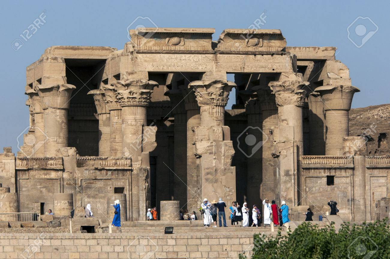 The magnificent columned ruins at the Temple of Kom Ombo. Kom Ombo is situated on the banks of the River Nile in southern Egypt. - 57680821