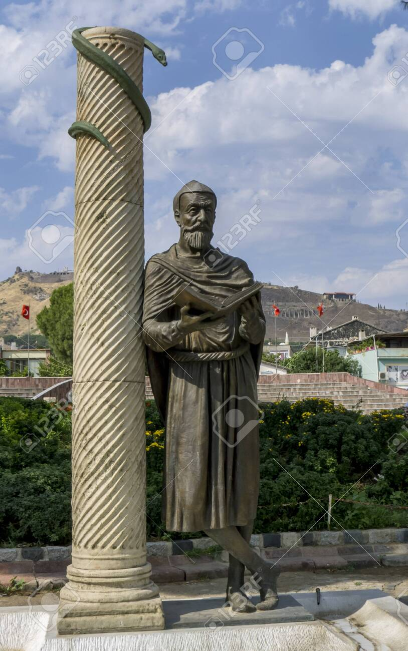 A statue of Galen of Peramon, also known as the Great Physician Galen at Bergama in Turkey. He was born in ancient Pergamon in 129-130 AD and was considered the founder of experimental medicine, anatomy, sports science and physiology in ancient times. - 139407671