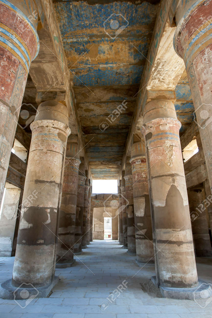 """A row of """"tent pole"""" columns within the Festival Temple of Thutmose III, c. 1479-25 B.C. at Karnak Temple (Temple of Amun) at Luxor in Egypt. - 172089013"""