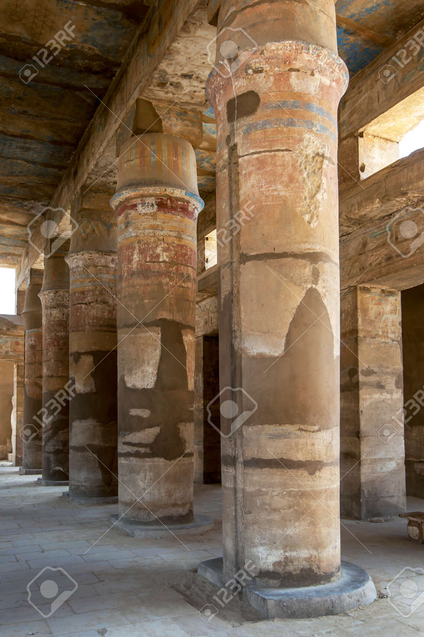 A row of painted tent pole columns within the Festival Temple of Thutmose III, c. 1479-25 B.C. at Karnak Temple (Temple of Amun) at Luxor in Egypt. - 172089031