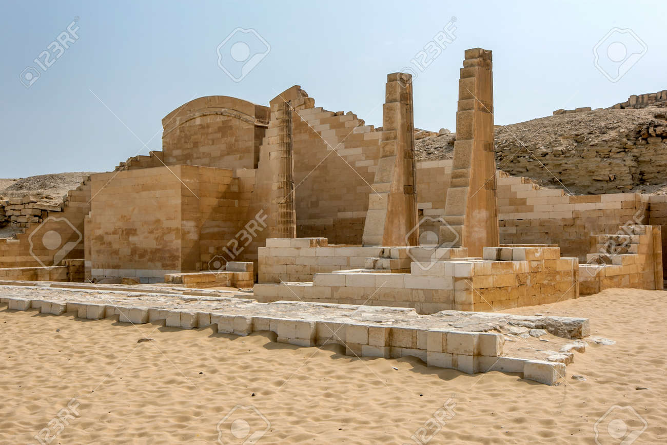 The ruins of Heb-Seb Court as seen from the Great South Court at the Step Pyramid of Saqqara (Pyramid of Djoser) in northern Egypt. - 172089073