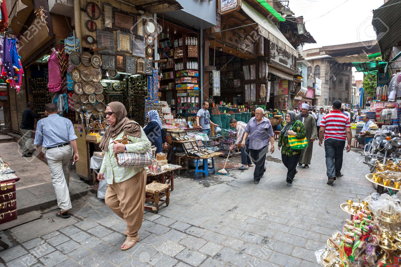 A busy section of the Khan el-Khalili Bazaar at Cairo in Egypt selling souvenirs. - 173509886
