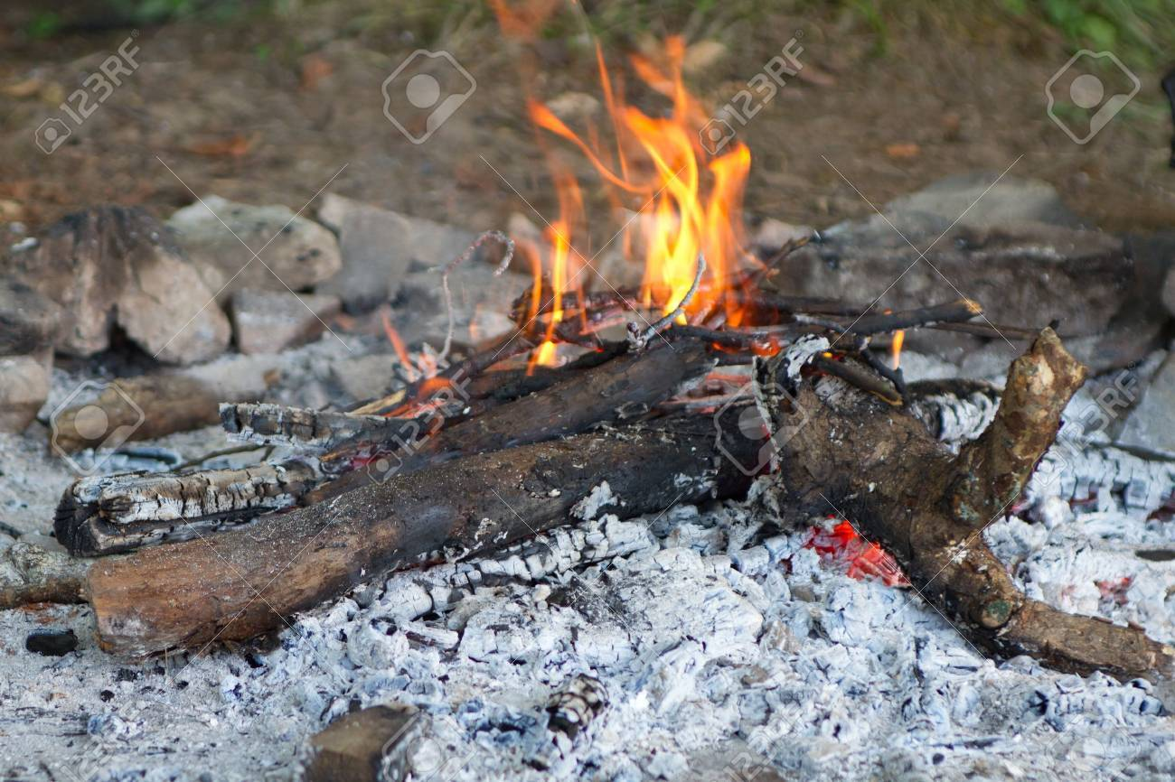 Camping Fire Pit >> A Camp Fire In A Fire Pit At A Campsite
