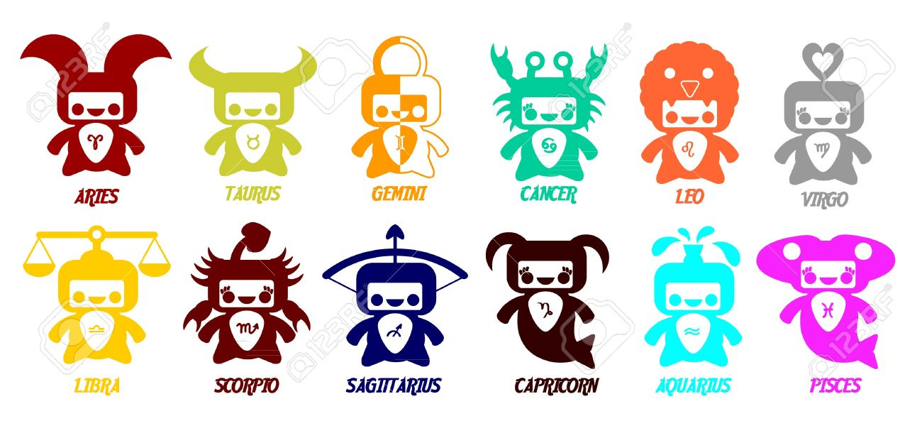 Set Of Astrological Zodiac Symbols Horoscope Signs Very Cute Design Stock Vector