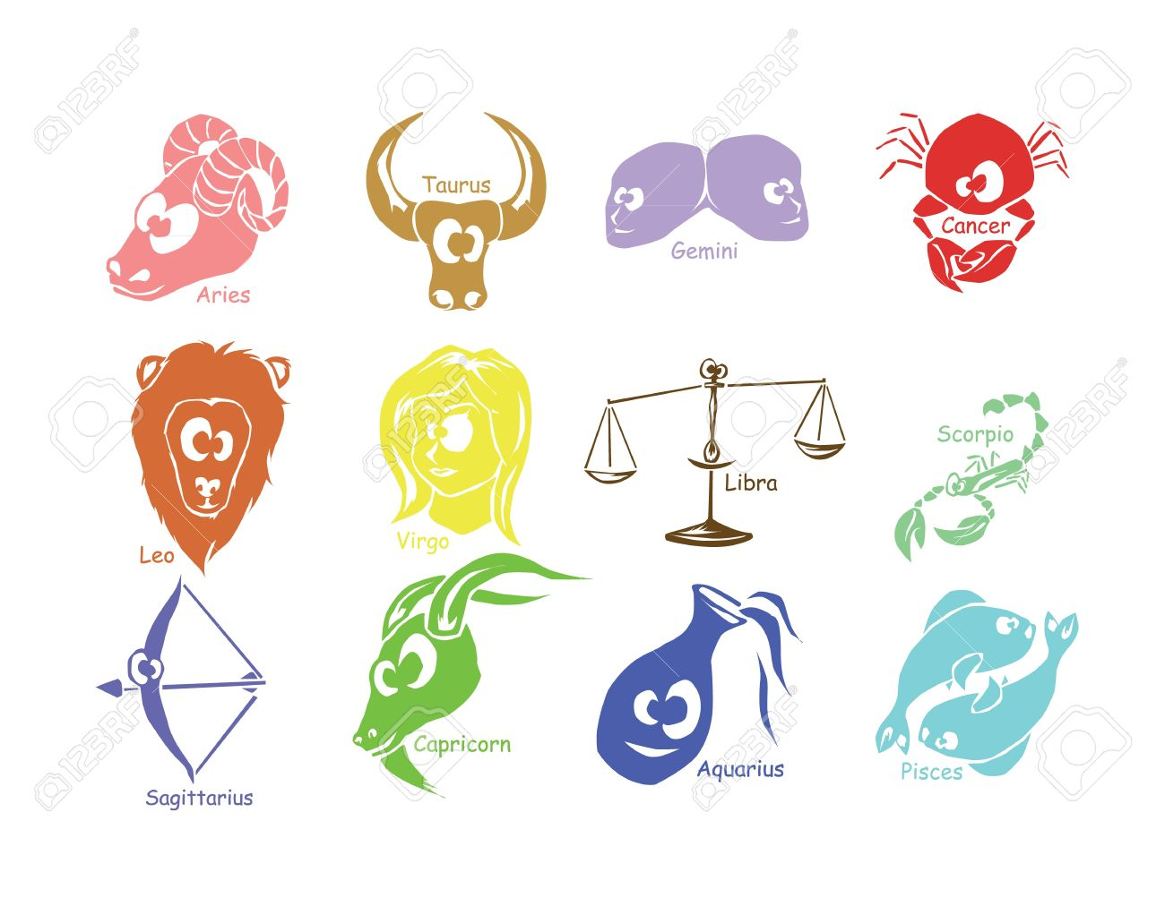 Set of astrological zodiac symbols horoscope signs funny design set of astrological zodiac symbols horoscope signs funny design stock vector 22019670 buycottarizona