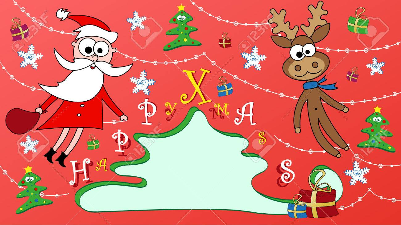 Happy Christmas Greeting Card With Santa Claus And His Friend