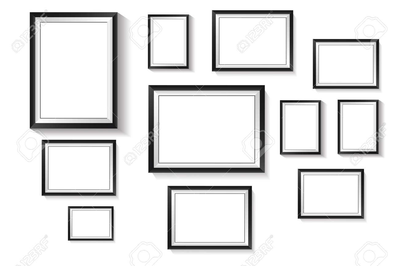 Vertical rectangle frame, black exterior frame overlaid with white frame on white background - 168364846