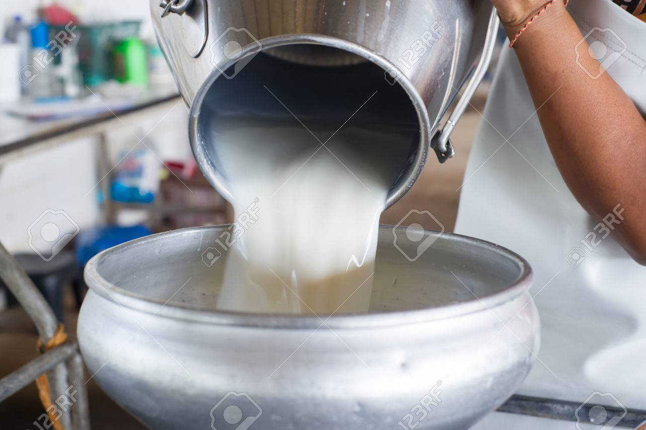 Pour raw milk into a bucket - 60959313