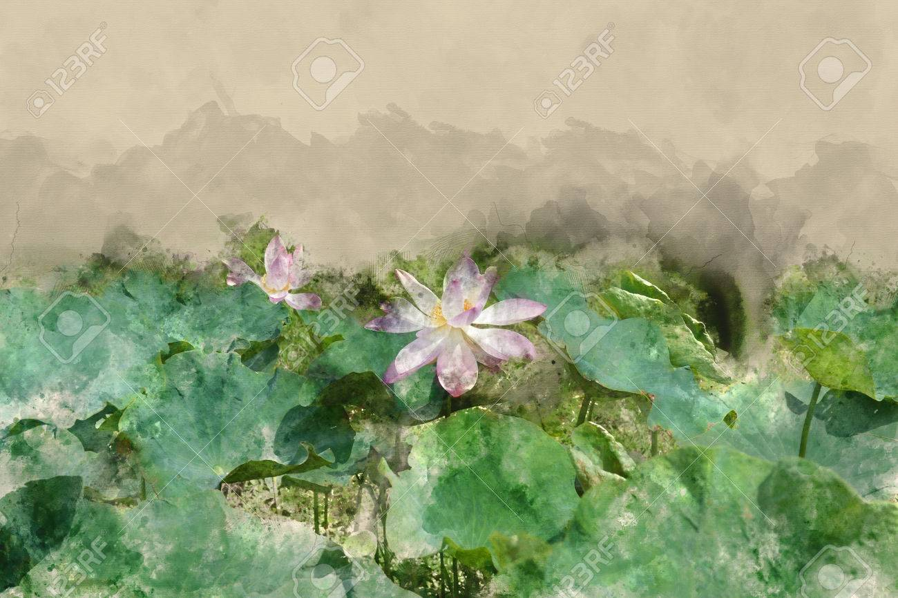 Watercolor effect picture lotus in water pond - 74959060