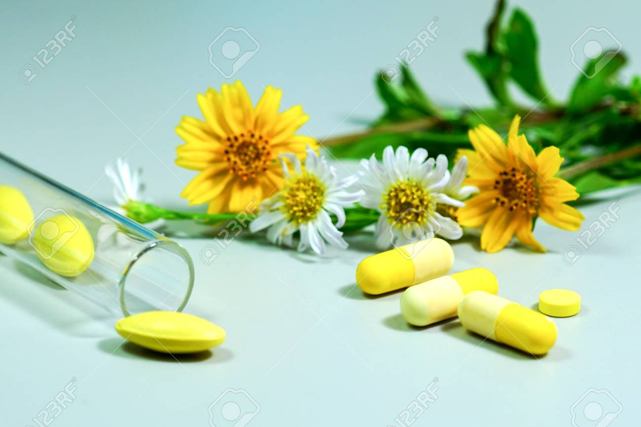 Medicine pills with yellow and white flower stock photo picture medicine pills with yellow and white flower stock photo 83667015 mightylinksfo