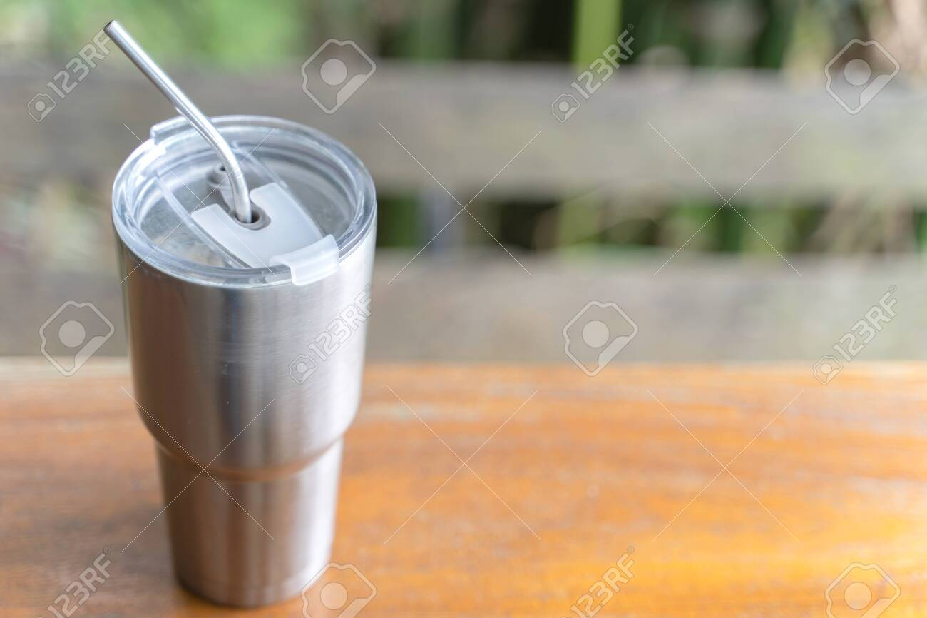e04f0bf83a9 Stainless steel tumbler with stainless straw keeping of the drink..