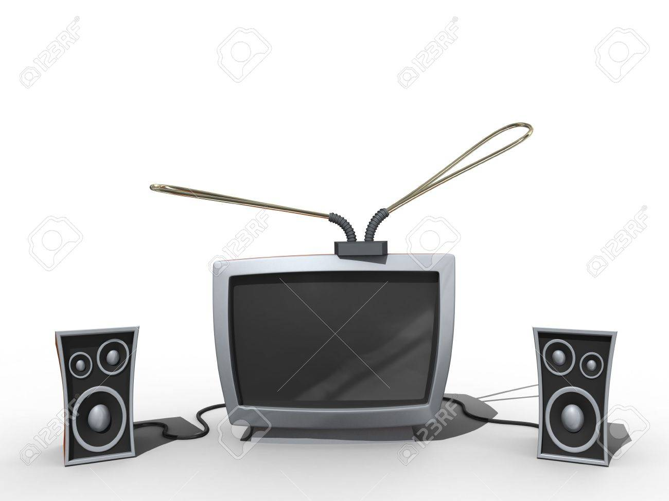 Old tv with speakers in cartoon style. Isolated. Stock Photo - 3667378