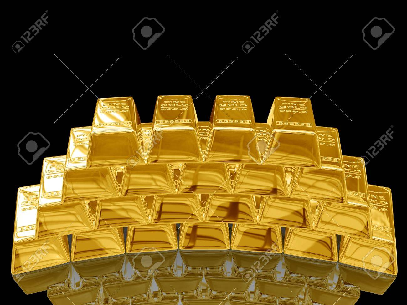Isolated gold bars on black background. Stock Photo - 3919545