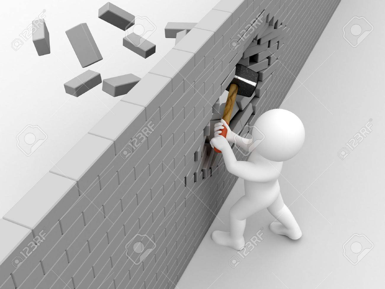 Person strike brick wall by sledgehammer. Stock Photo - 4933311