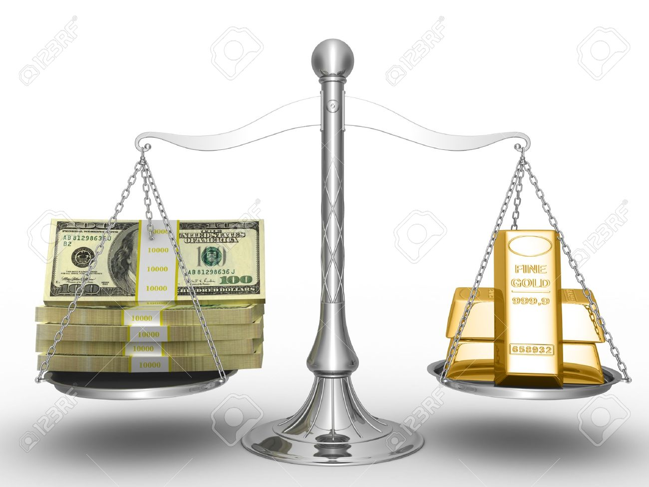 Balance between stack of money and stack of gold. Stock Photo - 8345283