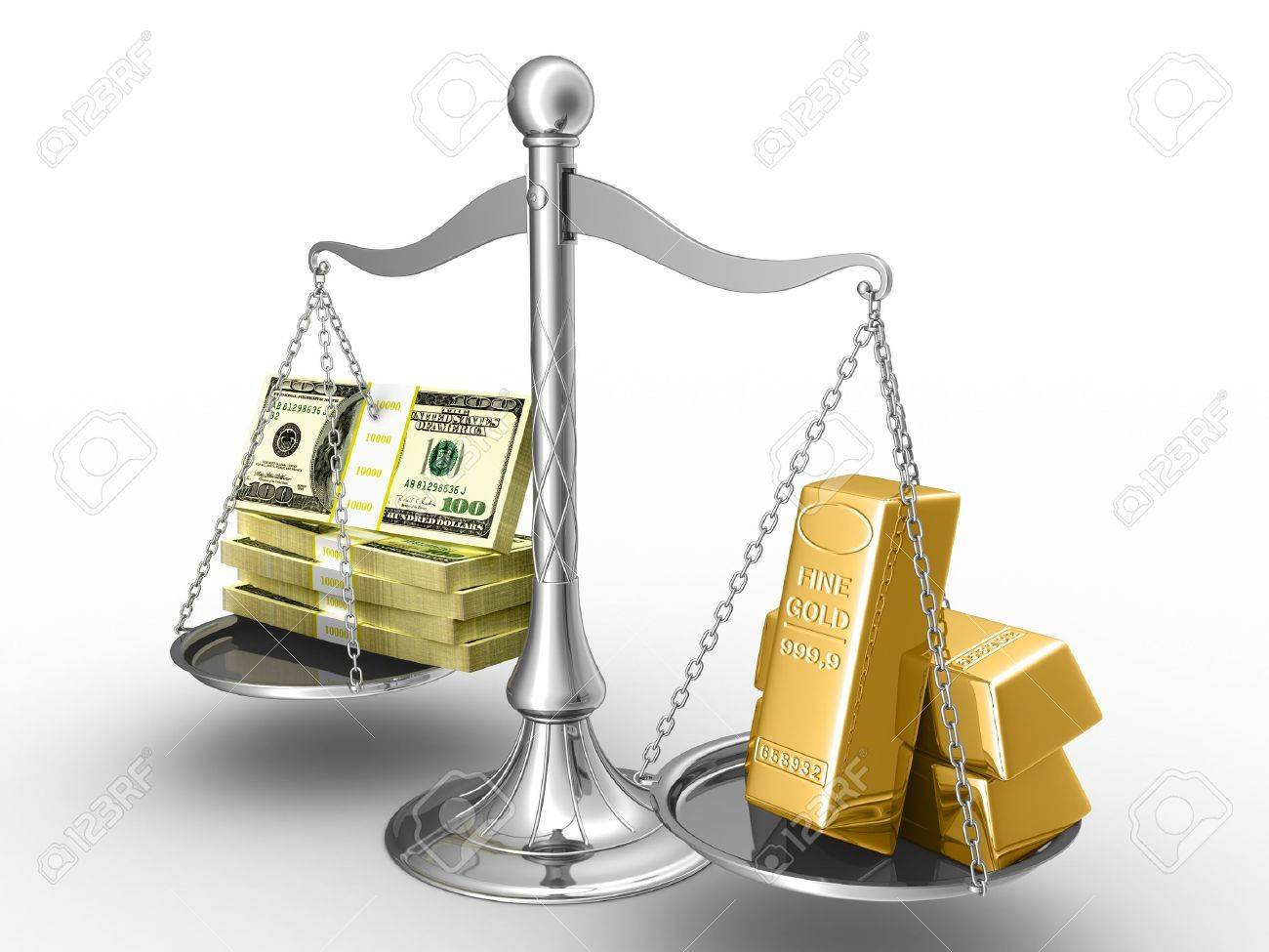 Balance between stack of money and stack of gold. Stock Photo - 8345284