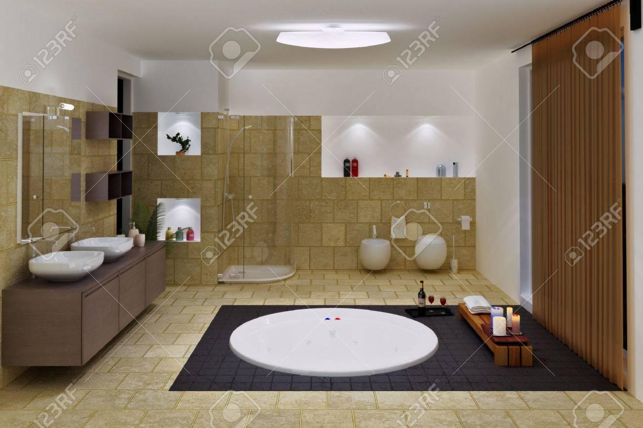 Computer Generated 3d Luxury Bathroom Interior Stock Photo   9264454
