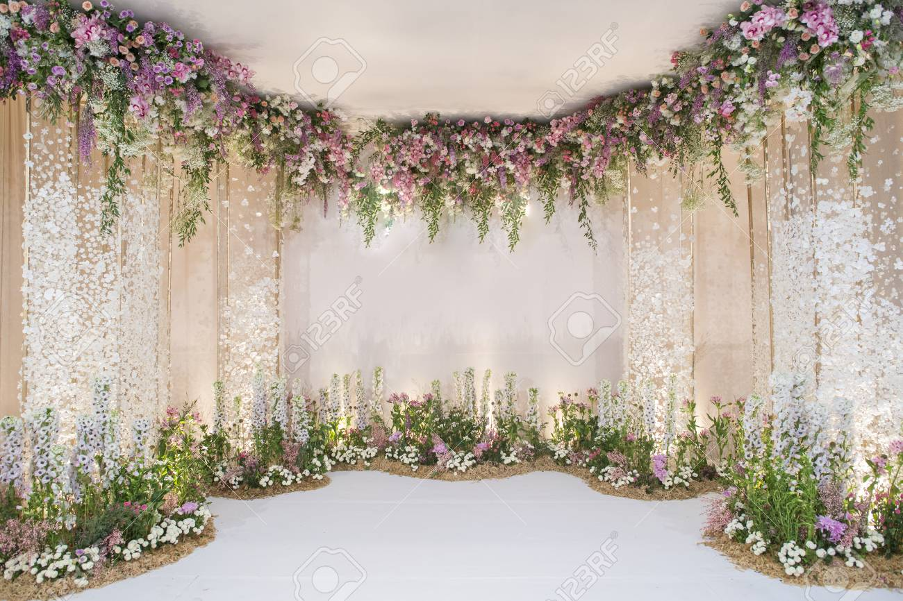 wedding backdrop with flower and wedding decoration - 76996103