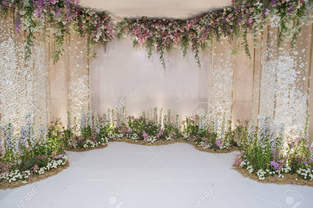 Wedding Backdrop With Flower And Wedding Decoration Stock Photo