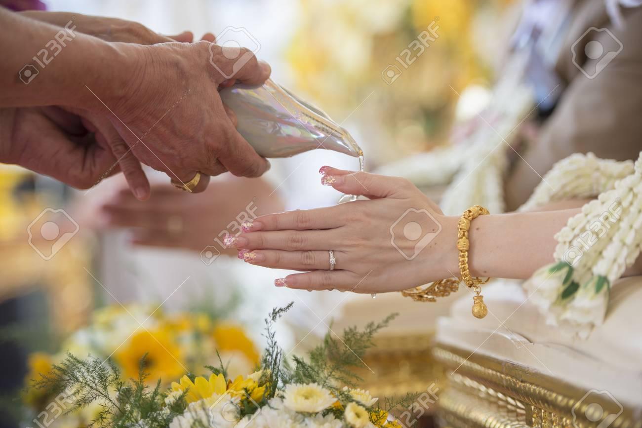 Thai Wedding Ceremony And Thai Wedding Decoration Stock Photo