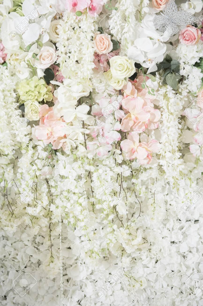 Hochzeitskulisse Mit Blumen Und Hochzeitsdekoration Lizenzfreie