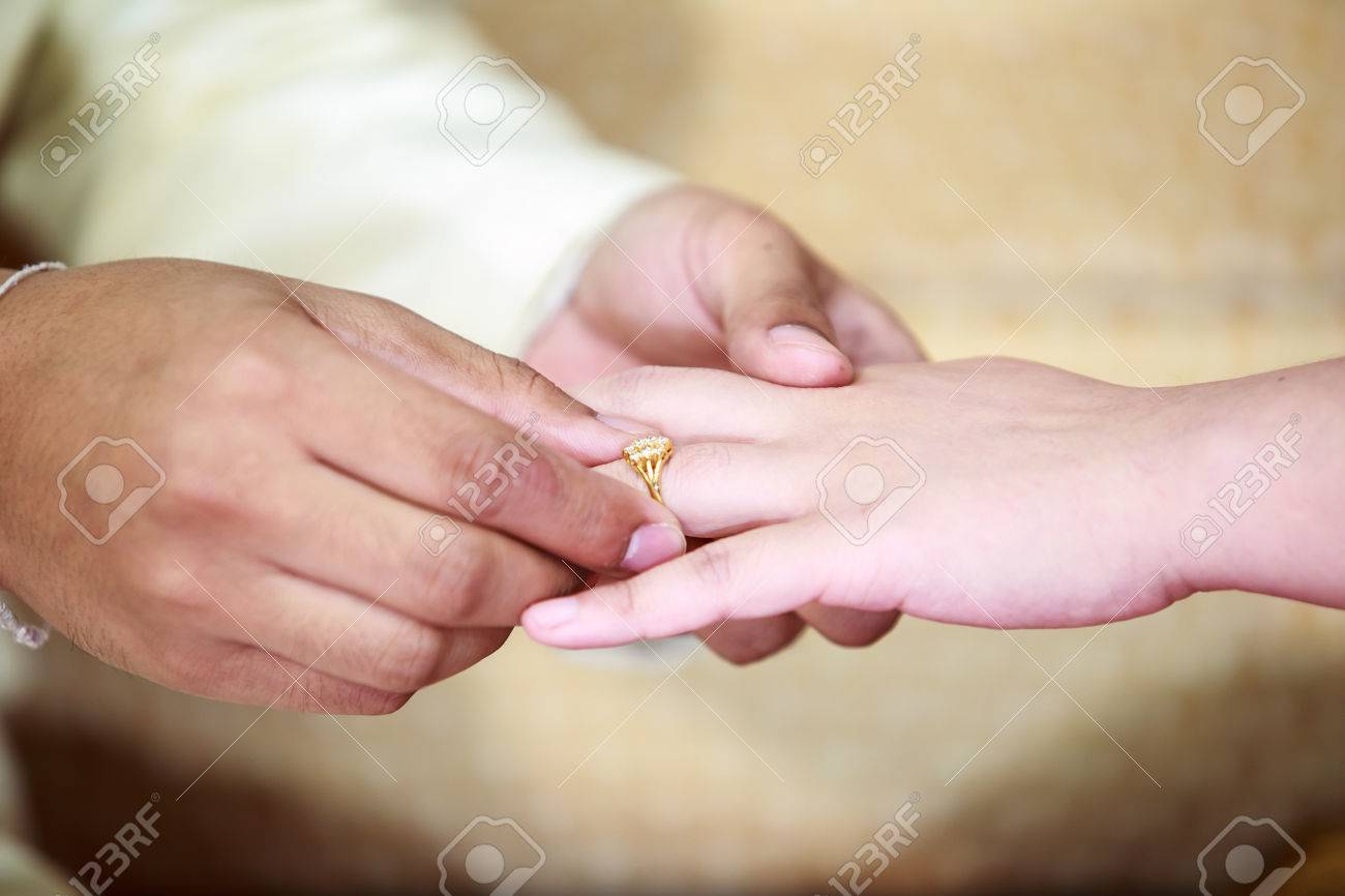 Hands And Rings On Wedding Stock Photo, Picture And Royalty Free ...